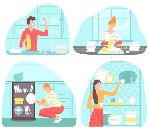 Collection of scenes with people doing houseworkvector illustration in flat style cartoon style