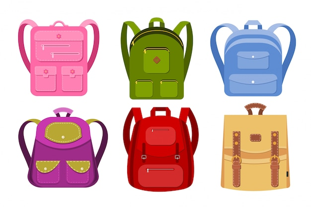 Collection of school backpacks