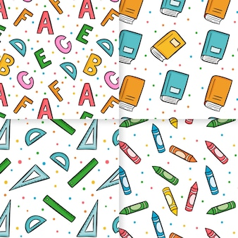 Collection of school hand drawn seamless pattern