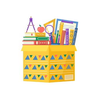 Collection of school supplies in carton package, book, notebook, pen, backpack, ruler. vector back to school background with stationery. office accessories.