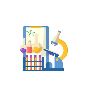 Collection of school supplies with notebook and seet for medical, chemistry. vector back to school background with stationery.