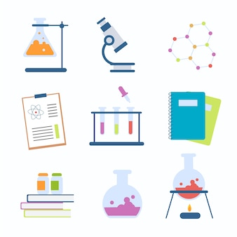 Collection of science lab objects