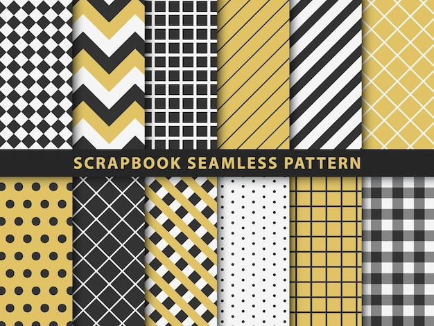 Collection of scrapbook seamless pattern