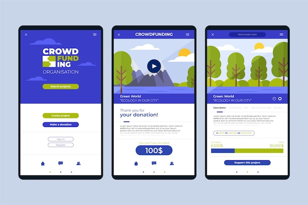 Collection of screens for crowdfunding app