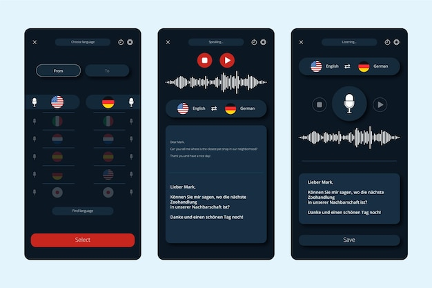 Collection of screens for voice translator app