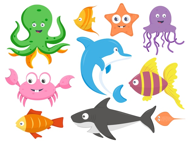 Collection of sea animals cartoon vector illustration