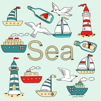 Collection of sea icon with vessels, lighthouses, seagulls and message in a bottle