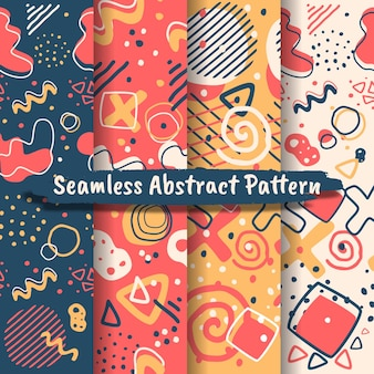 Collection of seamless abstract patterns with trendy hand drawn textures, spots