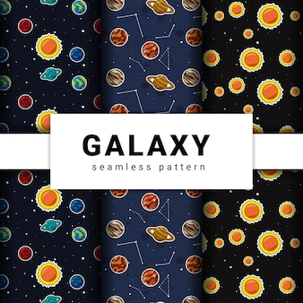 Collection of seamless galaxy pattern. collection of planets pattern