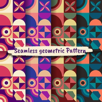 Collection of seamless geometric patterns, vector colorful geometric background.