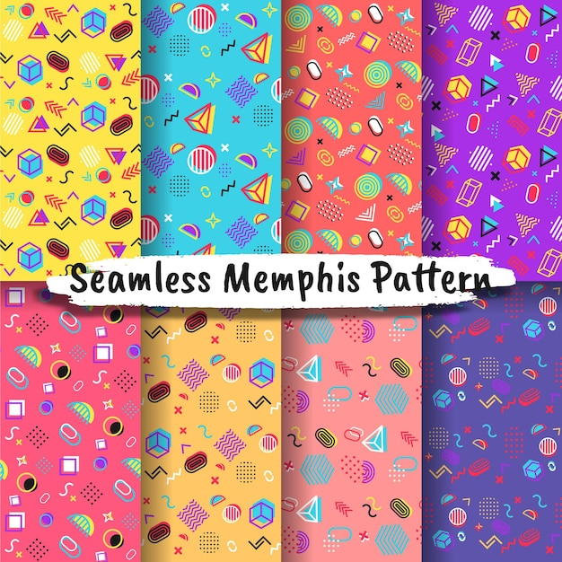 Collection of seamless memphis style patterns