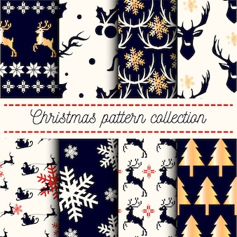 Collection of  seamless merry christmas and happy new years patterns