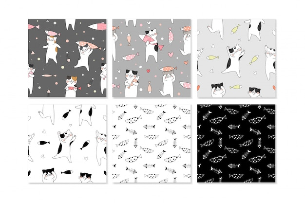 Collection of seamless pattern with cute cat.