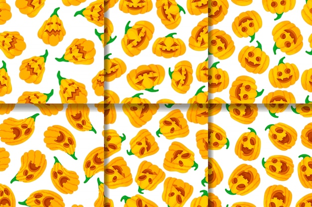 Collection of seamless patterns funny face pumpkins.