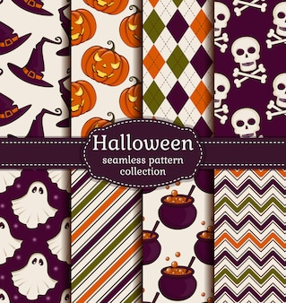 Collection of seamless patterns in the traditional holiday colors