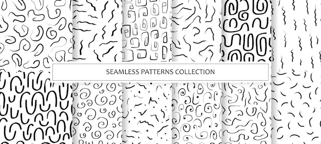 Collection seamless patterns with abstract shapes, lines, stripes, spiral and strokes. backgrounds ink, marker in hand drawn style. illustration with natural textures in the scandinavian style. vector