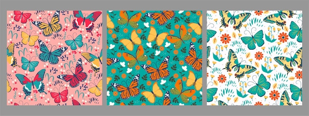 Collection of seamless patterns with butterflies.