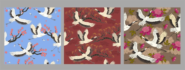 Collection of seamless patterns with cranes birds.