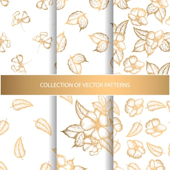 Collection of seamless patterns with golden floral elements