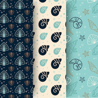 Collection of seamless seashell patterns