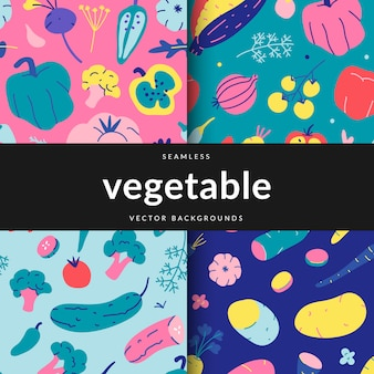 Collection of seamlesspatterns with various vegetables