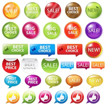 Collection of selling badges,  on white background,  illustration