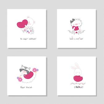 コレクションセット動物漫画動物。クマ豚アライグマバニー手描きイラスト