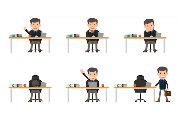 Collection set of business man showing different gestures