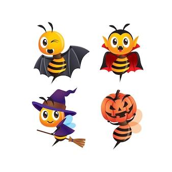 Collection set of cartoon cute bee in halloween costume