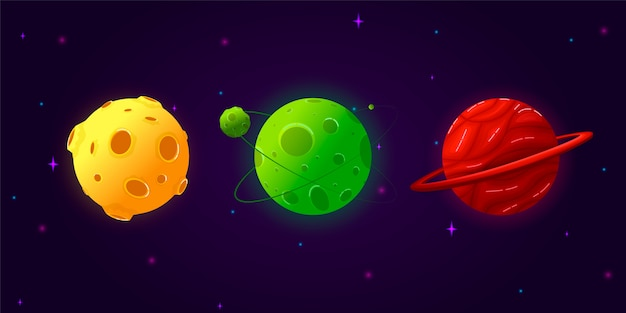 Collection set cartoon planets. colorful set of isolated objects. fantasy planets.