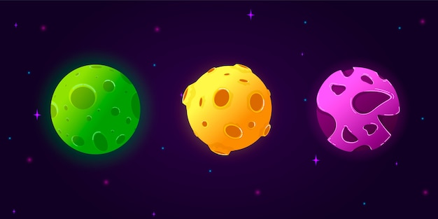 Collection set cartoon planets.