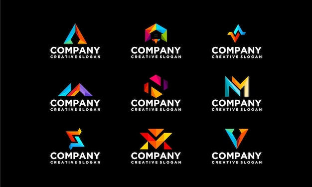 コレクションセットカラフルな会社のビジネスモダンなロゴテンプレート