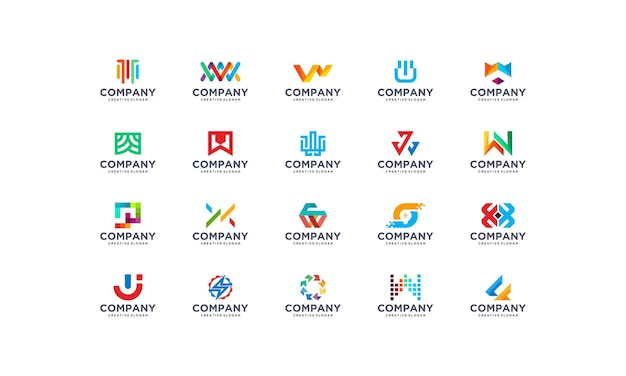 Collection set colorful company business modern logo template