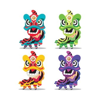 Collection set of colourful lion dance in flat design