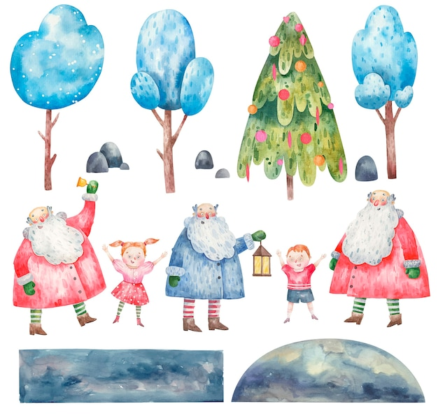 Collection set of cute new year santa claus, children, trees for creating cards, watercolor illustration