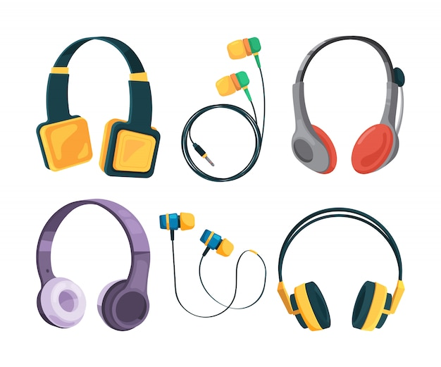 Collection set of different headphones in cartoon style