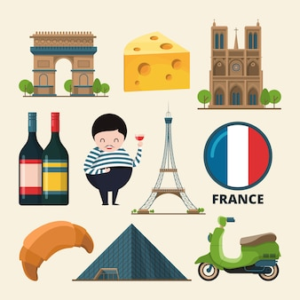 Collection set of france landmarks.