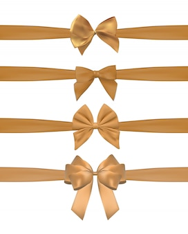 Collection set of golden bows with horizontal  ribbon isolated on white.