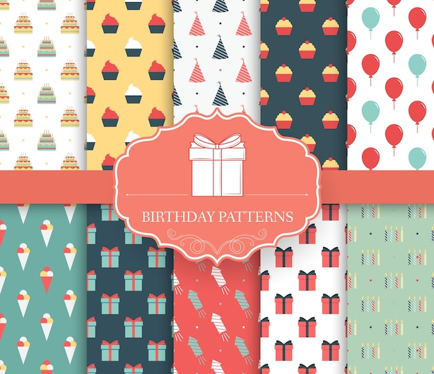 Collection set of happy birthday seamless pattern
