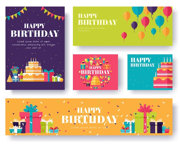 Collection set of happy birthday seamless