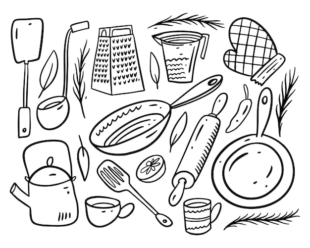 Collection set kitchen objects. hand draw cartoon style. balck ink. isolated.