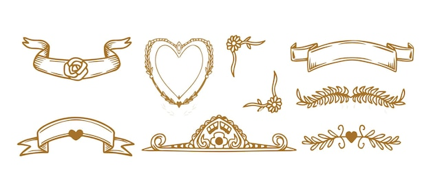 Collection set of label ornament vector