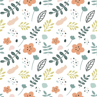 Collection set of leaf plants pattern colorful
