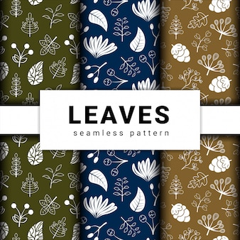 Collection set of leaves leaf seamless pattern.