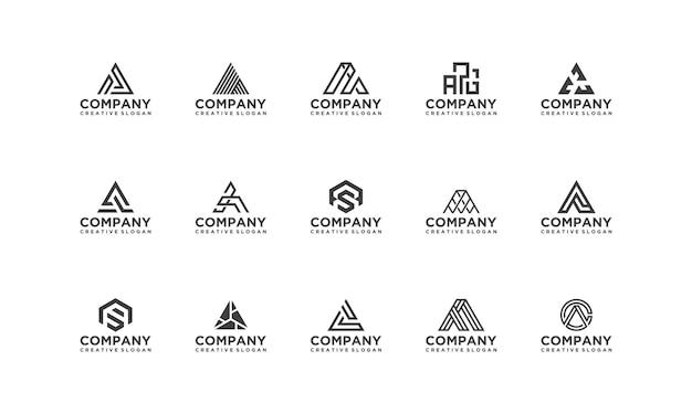 Collection set monogram company business modern logo template