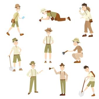 手にさまざまな属性を持つさまざまなポーズのさまざまな年齢の考古学者の男性と女性のコレクションセット。発掘に取り組んでいる科学者。