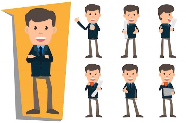 さまざまなジェスチャーを示すビジネスの男性のコレクションセット