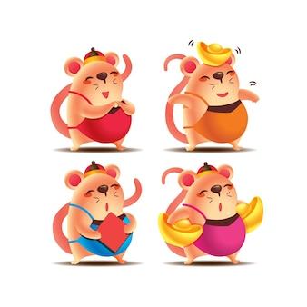 새해 축하를 위해 중국 커플렛과 금괴를 들고 있는 만화 귀여운 쥐의 컬렉션 세트