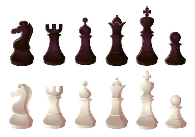 Коллекционный набор шахматных фигур двух вариантов - белый и черный. Premium векторы