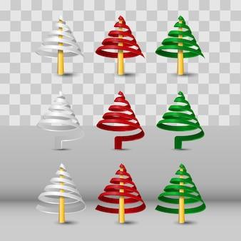 투명 한 배경에 고립 된 다채로운 현실적인 3d 코일 나선형 크리스마스 트리의 컬렉션 집합